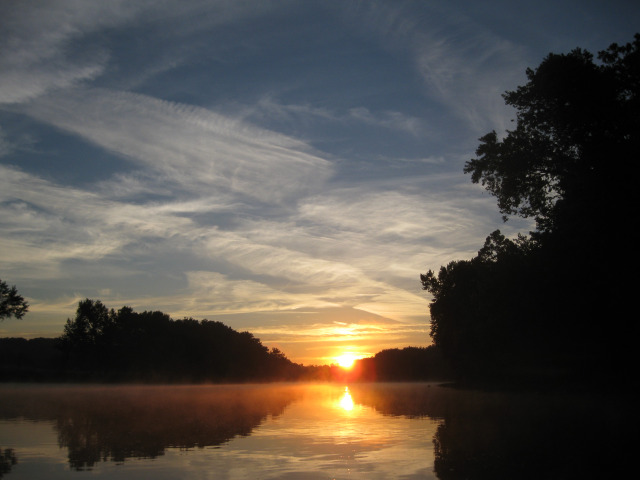 Sunrise over Wabash River while on micro fishing trip