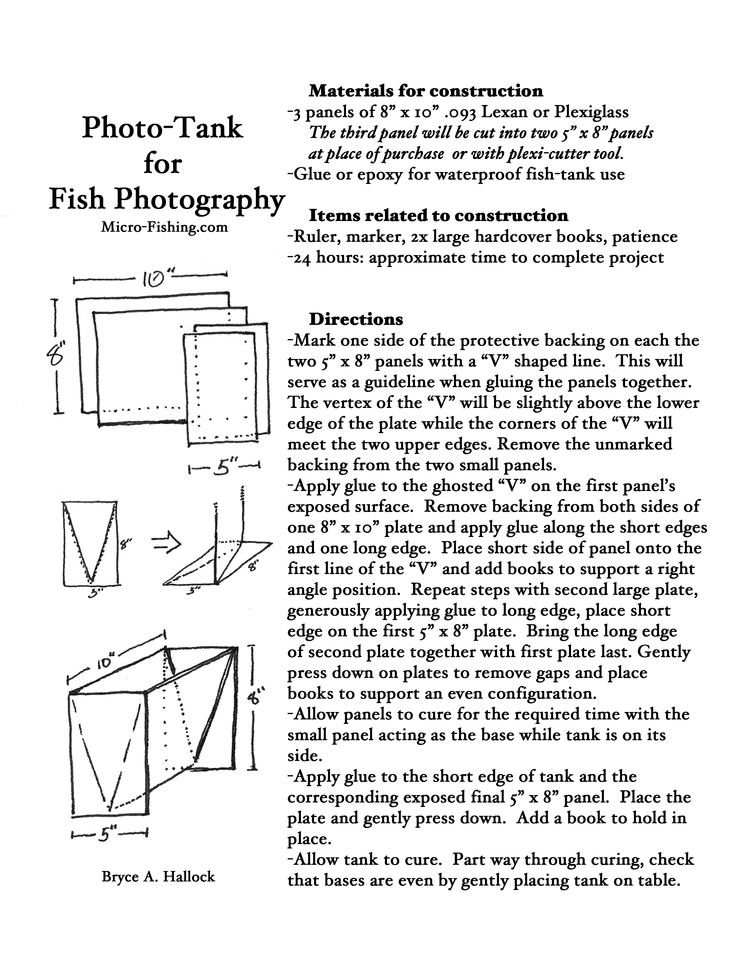Plans for photo-tank used while micro-fishing