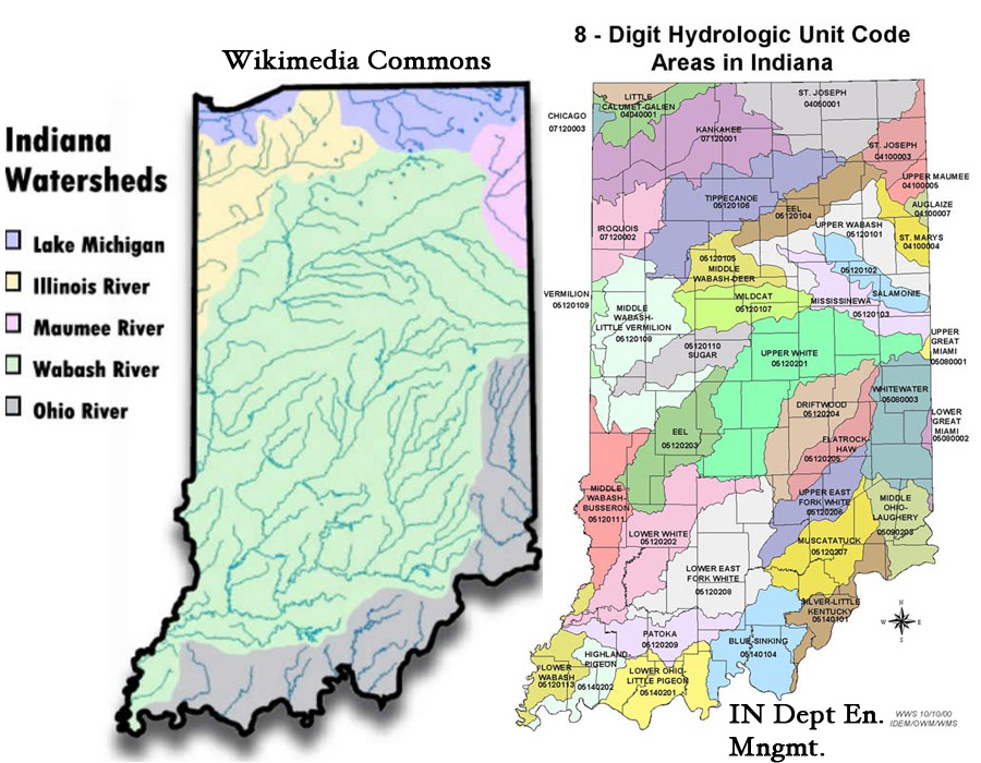 Indiana watershed maps from Wikimedia and IUPUI.edu